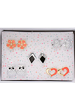 Alloy Tortoise Owl Diamond Flower Heart Shape Pierced Stud Earrings Jewelry(5Pair/Set)casual
