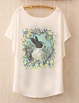 De las mujeres Simple Casual/Diario Verano Camiseta,Escote Redondo Estampado Animal Manga Corta Algodón / PoliésterAzul / Rosa / Blanco /