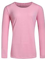De las mujeres Chic de Calle Casual/Diario Otoño Camiseta,Escote Redondo Un Color Manga Larga Algodón Rosa Medio
