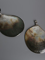 Beadia 78x105mm Natural Mother Of Pearl Black Shell Pendant (1Pc)