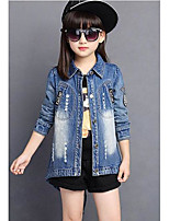 Girl's Casual/Daily Solid Suit & Blazer,Cotton Spring / Fall Blue