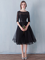Cocktail Party / Prom Dress - Little Black Dress A-line Scoop Knee-length Tulle with Bow(s) / Lace
