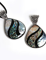 Beadia 48x80mm Vintage Water Drop Shape Abalone Striped Shell Pendant (1Pc)
