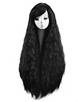 Long Natural Wave Synthetic Wig Cheap Heat Resistant Black Color Women Party Synthetic Wigs