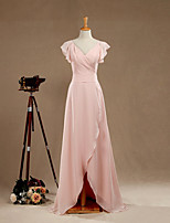 Formal Evening Dress Sheath / Column V-neck Floor-length Chiffon with Criss Cross
