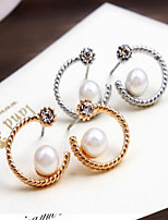 Golden Silver Monn Shape Pearl Rhinestone Stud Earrings for OL Lady