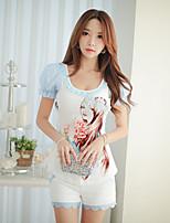 DABUWAWA® Women's Casual Print Round Neck Short Puff Sleeve T Shirt
