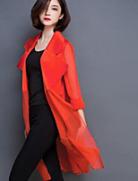 Women's Casual/Daily Street chic Trench Coat,Solid V Neck Sleeveless Summer Red / Black Silk Thin