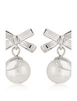 Women's Boutique Fashion Elegant Sweet Bow Pearl Stud Earrings