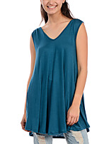Women's Going out Street chic Summer Blouse,Solid Round Neck Sleeveless Blue / Black / Gray Rayon Thin