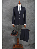 Suits Standard Fit Notch Single Breasted Two-buttons Polyester Stripes 2 Pieces Black Straight Flapped