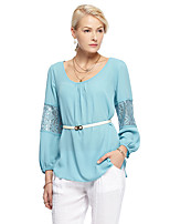 Heart Soul® Women's Round Neck Long Sleeve T Shirt Blue-12AA23115