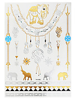 1pc Gold Silver Metallic Waterproof Tattoo Elephant Jewelry Necklace Temporary Tattoo Sticker YH-055