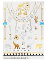 1pc Gold Silver Metallic Waterproof Tattoo Elephant Jewelry Necklace Temporary Tattoo Sticker YH-055