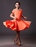 Latin Dance Dresses Children's Training Lycra Draped 1 Piece Orange / Light Yellow Latin Dance Half Sleeve Natural Dress