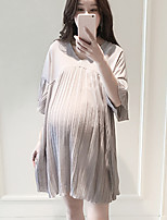 V Neck Ruched Maternity Dress,Polyester Above Knee Short Sleeve