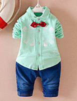 Boy's Casual/Daily Floral Clothing Set,Cotton / Polyester Spring / Fall Green / Pink / Gray