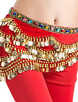 Belly Dance Hip Scarves Women's Performance Lycra Gold Coins 1 Piece Belly Dance Sleeveless Natural Hip Scarf