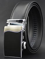 Men Business Automatic Buckle Leather Wide Belt,Work / Casual Black