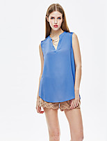 Women's Going out Simple Summer T-shirt,Solid V Neck Sleeveless Blue Polyester Thin