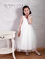 Ball Gown Tea-length Flower Girl Dress-Lace / Satin / Tulle Sleeveless