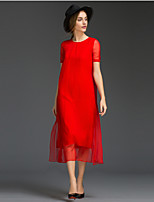 Women's Going out Simple Loose Dress,Solid Round Neck Midi Short Sleeve Red Silk Summer Mid Rise