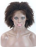 8Inch #2 Color Short Afro Kinky Curly Human Hair Lace wigs For Black Women