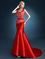 Formal Evening Dress Trumpet / Mermaid Jewel Sweep / Brush Train Satin with Lace