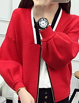 Women's Solid Blue / Pink / Red / Black / Gray Cardigan,Simple Long Sleeve