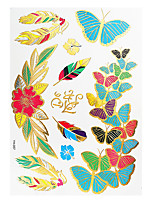 1pc Colorful Metallic Waterproof Tattoo Feather Butterfly Flower Temporary Tattoo Sticker YH-057