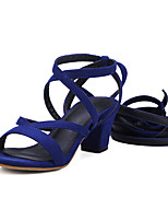 Women's Shoes Chunky Heel Ankle Strap / Open Toe Sandals Party & Evening / Dress Black / Blue / Brown