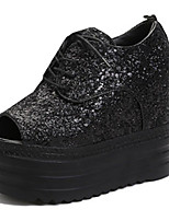 Women's Sandals Summer Peep Toe PU Casual Wedge Heel Sequin Black / Gray Others