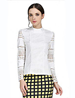 Women's Casual/Daily Plus Size Summer Blouse,Patchwork Crew Neck Long Sleeve White Polyester Translucent