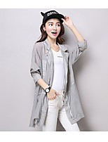 Women's Going out Simple Trench Coat,Solid Shirt Collar ¾ Sleeve Summer Pink / Gray / Green Cotton Thin