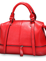 Women Cowhide Casual Tote Purple / Red / Black
