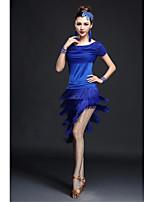 Latin Dance Dresses Women's Performance Milk Fiber Tassel(s) 2 Pieces Black / Blue / Fuchsia / Red Latin Dance