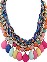 Bohemia Bright Colored Gemstone Tassels Fashion Necklace