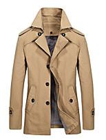 Effen-Informeel / Werk-Heren-Katoen / Polyester-Trenchcoat-Lange mouw Zwart / Blauw / Bruin / Geel