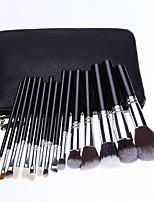 Large Black Bag With 15 Black Silver Makeup Brush Set