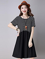 Women's Going out / Plus Size Chinoiserie Loose / Sheath Dress,Striped Round Neck Above Knee Short Sleeve Black Linen All Seasons