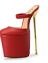 Feminino-Saltos-Saltos / Plataforma / Chanel / Arrendondado-Salto Agulha-Preto / Vermelho / Branco-Courino-Festas & Noite