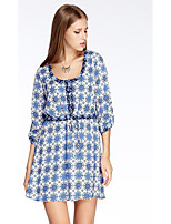 Women's Going out Simple A Line Dress,Print Round Neck Above Knee ¾ Sleeve Blue Polyester Summer