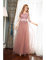 Formal Evening Dress A-line Jewel Floor-length Tulle with Appliques / Buttons