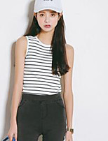 Women's Casual/Daily Simple Summer Tanks,Striped Round Neck Sleeveless