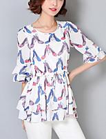Women's Casual / Plus Size / Street chic Summer Chiffon Blouse,Print ½ Length Sleeve White / Black Polyester Medium