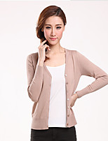 Women's Solid Blue / Pink / Gray Cardigan,Simple / Street chic Long Sleeve