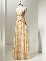 Formal Evening Dress A-line Sweetheart Floor-length Tulle / Sequined with Beading / Crystal Detailing / Lace / Sash