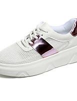 Da donna-Sneakers-Tempo libero / Casual-Comoda / Punta arrotondata-Plateau-Vernice / Tulle-Nero / Rosa / Argento