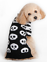 Cat / Dog Costume / Sweater Black / White Winter / Spring/Fall Skulls Halloween, Dog Clothes / Dog Clothing