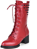 Mujer-Tacón Robusto-Botas a la Moda-Botas-Exterior / Oficina y Trabajo / Casual-Semicuero-Negro / Marrón / Rojo
